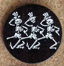 10 GRATEFUL DEAD DEAD HEAD STYLE DANCING SKELETONS CLOISSONE METAL 1 inch PIN