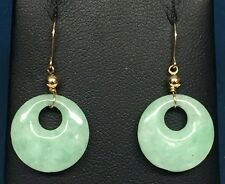 10K Yellow Gold Mint Green Circle Round Jade - Jadeite Fish Hook Earrings