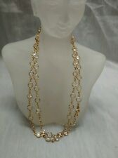 Pretty  signed swan swarovski  clear crystal gold tone bezels necklace 32 1/2 in
