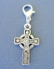 Cross Clip On Charm with Lobster Clasp Fit Link Chain, floating locket S84