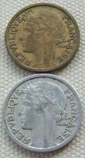 2 French 2 franc coins 1936 Aluminum-bronze 1944 Aluminum