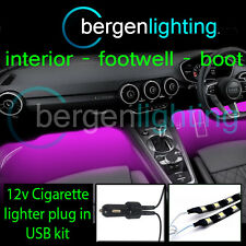 2X 1000MM PINK USB 12V LIGHTER INTERIOR KIT 12V SMD5050 DRL MOOD LIGHTING STRIPS