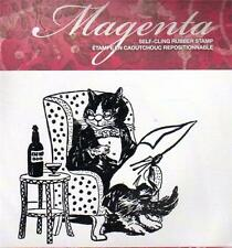 New Cling MAGENTA RUBBER STAMP Kitty Cat Reading newspaper catnip Free USA ship