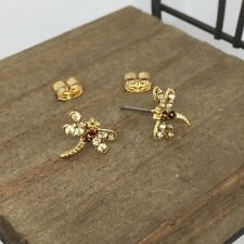 Gold Color Dragonfly Crystal Post Stud Earrings US Seller Made in Korea