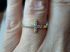 New QVC Diamonique cz  SterlingSilver/14K Y Gold clad Cross Ring-sz 7