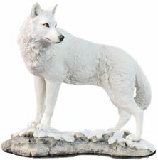 "9.5"" White Wolf on Snow Nature Wildlife Animal Statue Collectible Wild Sculpture"