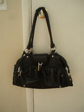 Fashion Express Black  Shoulder Bag with cute lock and key charms( handles worn)