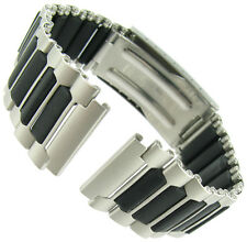 19mm Timex Ironman Triathlon Center Clasp Silver Black Stainless Watch Band
