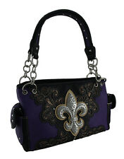 Rhinestone Sparkle Fleur De Lis and Filigree Concealed Carry Handbag