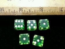 """Vintage Crisloid Green CHEATERS Lucite dice. 5 dice 1/2"""""""