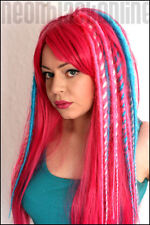 Pink and turquoise dread wig - long synthetic dreadlock wig - Made to order
