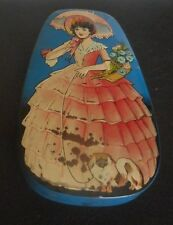 """VICTORIAN LADY w/DOG Embossed GEORGE W HORNER & Co Candy Tin 4-1/2"""" W 6"""" L 1"""" D"""