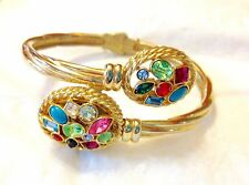 GOLD MULTI COLOR CRYSTAL RHINESTONE PEDRE BYPASS WATCH BRACELET BANGLE