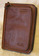 SUPERB TUSCANY LEATHER PERSONAL ORGANISER 2 ZIPPED SECTIONS EXTRA POCKETS