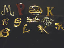 Big Lot of 12 Vintage Mother and Initial Brooch Pins K M E C G L P