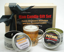 Unusual Gift for Dad Set Man Candles for Men Petrol, Tyre Beer Scented