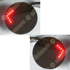 """4"""" Peep Mirrors 12V Red Led Turn Signals Stainless Steel"""