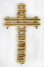 """Bethlehem Olive Wood Our Father Lord's Prayer Nazareth Holy Land Cross 9"""""""
