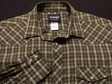 Wrangler Mens XLT Tall Long Sleeve Pearl Snap Green Plaid Check Western Shirt