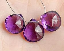 Purple Amethyst Quartz Concave Convex Heart Briolette Beads