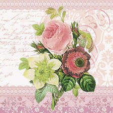 20 Paper Napkins MONICA Decoration DECOUPAGE SHABBY CHIC - Roses Lunchoen