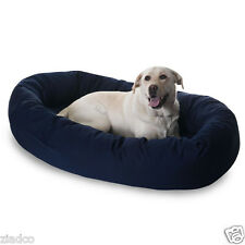 "Huge 52"" Round Dog Pet Large Breed XL Bagel Bed for 70 - 110 Lb Dogs BLUE NEW"