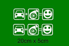 2x Auto + Turbo Fun Aufkleber Sticker Schrift mercedes smart Audi VW Zuning opel