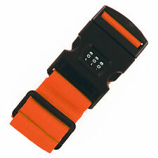 Pack of 2 Adjustable Luggage Suitcase Strap ComboLock Travel Baggage Belt Orange