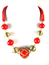 LADIES CHUNKY MULTI BEAD RED GOLD STATEMENT NECKLACE UNIQUE (ST73)