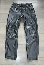 "Vintage Black Leather Front Pleat Biker Trousers Pants Jeans Size W30"" L30"""