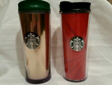 2 Starbucks Coffee Travel Mug Cup Tumbler Red & Gold Holiday 12 oz 2009 New