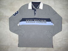 TOMMY HILFIGER Rugby Knit Polo Shirt Gray Blue Sweater Sweatshirt Medium M USED