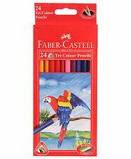 24 Faber Castell Colouring Pencils Triangular Shape Artist Drawing Sketching New