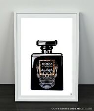 "Coco Chanel NOIR  sugar SKULL perfume bottle Poster Print Home Decor Art 7""x 5"""