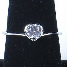 Sterling silver ring solitaire heart round cubic zirconia .925 heart size 8.75