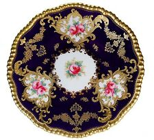 RARE ANTIQUE COPELAND SPODE GOLD JEWELS HAND PAINTED COBALT PINK ROSES PLATE!