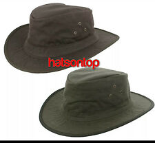 Waterpoof Wax Fedora Hat S.M.L.XL in Olive Green and Dark Brown