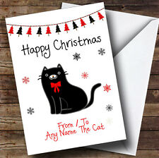 Black From Or To The Cat Pet Personalised Christmas Card