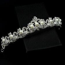 Pearl Clear Crystal Rhinestone Tiara Crown Bridal Wedding Party Pageant 7237 New