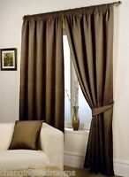 CHOCOLATE  WAFFLE EFFECT  FULLY LINED READY MADE TAPE TOP  CURTAINS IN 7 SIZES