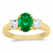 Classic Prong-Set Emerald oval cut and Diamond Three Stone Yellow Gold Ring 7