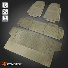 4PC Beige Heavy Duty All Weather 3D Rubber Floor Mats Front+Rear+Trunk Truck SUV