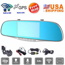 1080P  5'' Car HD Dual lens Bluetooth Rear View Mirror GPS Navigator DVR WP