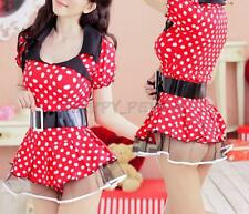 Minnie Mouse Sexy Costume Hot Women Fancy Dress Cosplay Red Dot Skirt Outfit Ear