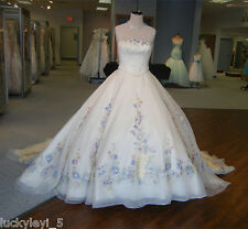 Cinderella Princess Wedding Dress Embroidery Applique Flowers Bridal Ball Gowns
