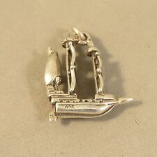 .925 Sterling Silver 3-D PIRATE SHIP CHARM NEW Pendant Boat Sail Mast 925 NT107