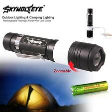 3800Lumen CREE T6 LED Rechargeable Flashlight Torch Camping USB 18650 Battery BA