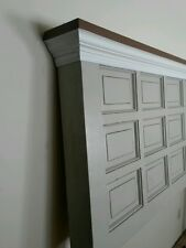 King headboard,  wood door, door, paneled door, headboard
