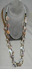 "NATIVE AM. 46"" NECKLACE, ABALONE CHUNK, PONY & ART BEADS 2 STRAND W/TIE, NICE!"