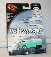 HOT WHEELS 100% VOLKWAGEN VW DRAG BUS BONUS IN TEAL AND WHITE RARE MINT ON CARD